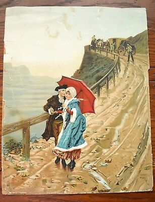 Antique Vintage Painting 18Th Century Lovers Coach Horses 11X14 Inches