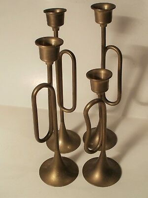 4 Vintage Bugle Design Brass Graduating Candlestick Set - Made In India
