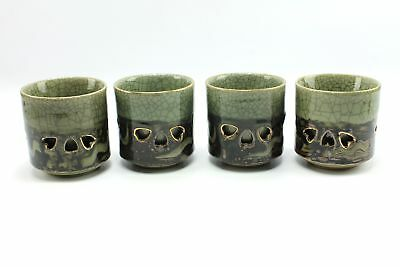 Vintage Somayaki Large Double Wall Crackle Ceramic Cups Green Gold Horse Japan