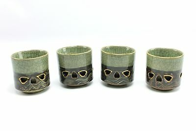 Vintage Somayaki Double Wall Crackle Ceramic Cups Green Brown Gold Horse Japan