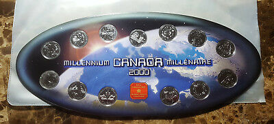 Canada 2000 Millennium Oval 13 Coin Commemorative Set With Token!!