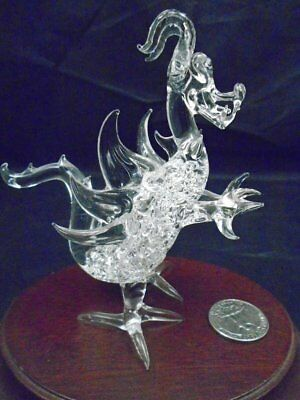 """Vintage Blown Glass Standing Dragon w/ Wings Figurine 4.5"""" tall"""