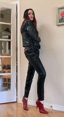Rare Bebe BLACK faux Leather vegan pleather punk grunge skinny jeans pants