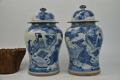 A Pair Fine Beautiful Chinese Blue And White Porcelain Vase  Jar Pot With Cover