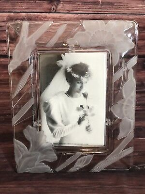 FIFTH AVENUE CRYSTAL Picture Frame. Narcissus 5x7. Frosted Glass ...