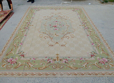 9'X12' Antique French Country Aubusson Rug Hand-woven Floral Oliver Light Brown