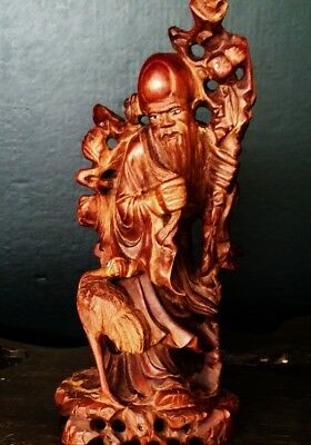 Antique Chinese boxwood Huangyanmu carved wooden Shoulao statue 黄杨木雕寿老