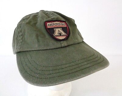 Vtg Abercrombie Fitch Leather Strapback Dad Hat Distressed Green Patch USA Made