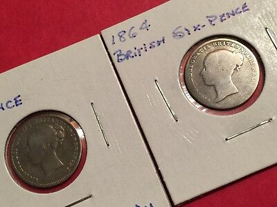 2 young head Sixpence silver Coins 1864, 1878 Uk Great Britain Silver Coin, l248