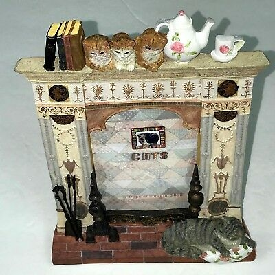 Cats-Picture-Frame-3D-Designed-Books-Teapot-Cups-Fireplace-8.3/25 H x 6.3/25 W