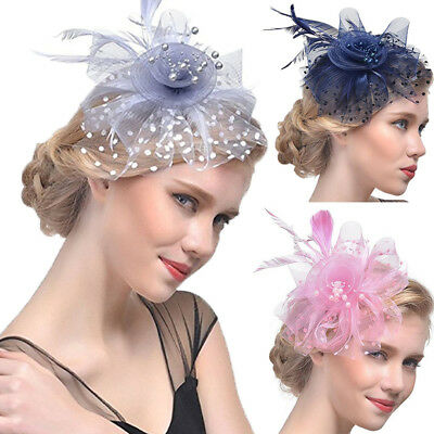 Women's Fascinator Hat Flower Mesh Ribbons Feathers Headband Cocktail Tea Party#