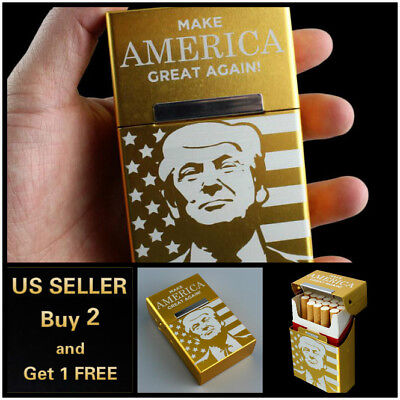 Donald Trump Aluminum Gold Cigar Cigarette Box Holder Tobacco Storage Case Gift