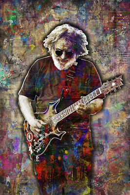 JERRY GARCIA Poster, Jerry Garcia GRATEFUL DEAD Tribute Print Free Shipping Us