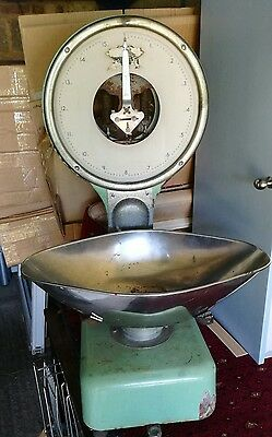 Large Old Vintage Scales Heavy Duty Rusty Duck Egg Blue Green Metal Bowl Working