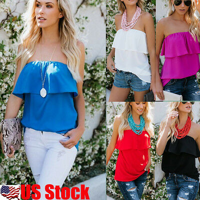 Womens Off Shoulder Ruffle Frill Strapless Loose Blouse T Shirt Casual Tank Tops