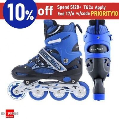 Adjustable Kids Inline Skates Roller Flashing Wheels M Size - Blue