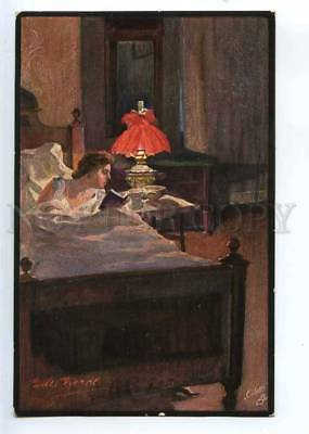 244351 Woman Reading Book LAMP by VIERKE Vintage TUCK #459 PC