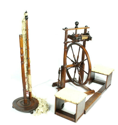 A Collection of 19C Victorian SPINNING WHEEL POLE STOOLS & SCREEN [PL2169]