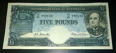 1960 Australia Coombs/Wilson £5 Five Pounds banknote