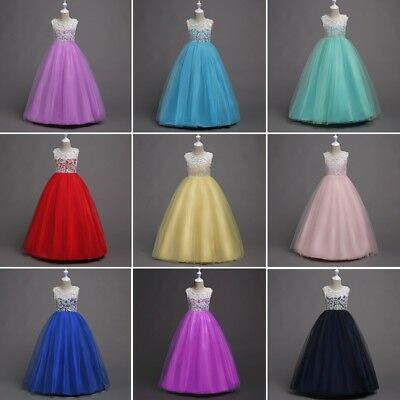 Lace Flower Girl Dress Maxi Long Formal Ball Gown Kid Wedding Bridesmaid Dresses