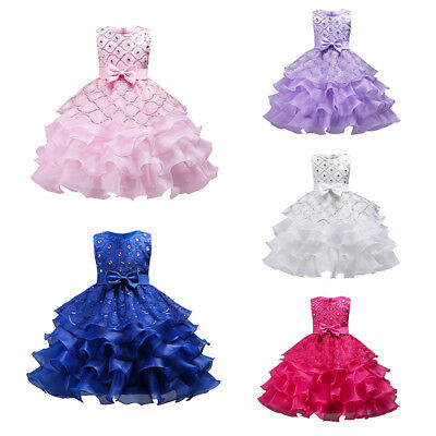 3-15Y Kids Girls Birthday Wedding Bridesmaid Gown Formal Party Pageant Dress AU