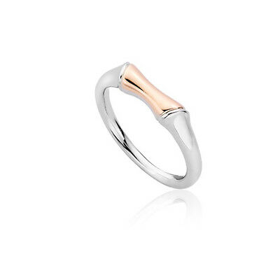 BRAND NEW Official Clogau Silver & Rose Gold Bamboo Ring RRP £119 SIZE K