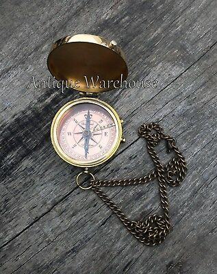 Go confidently Brass Maritime Compass Engraved Handmade Working Compass W/ Chain