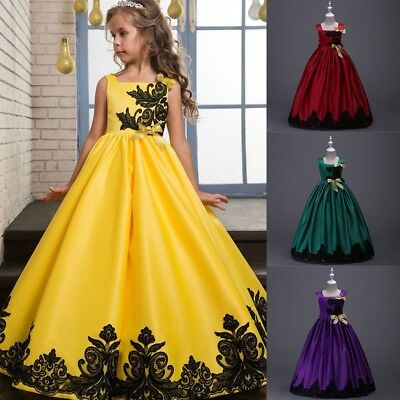 3-14Y Kids Girls Flower Lace Formal Wedding Bridesmaid Ball Gown Maxi Long Dress