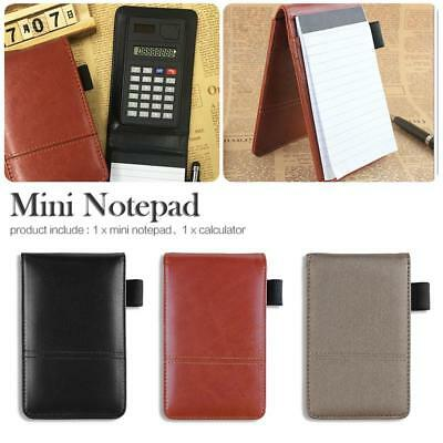 Creative PU Leather Work Calculator Notes Office School Pocket Notebook Notepad