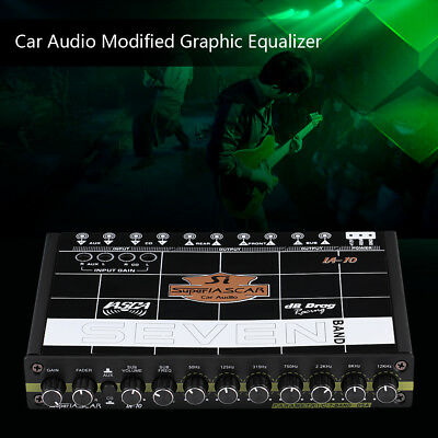 1/2 DIN 7 Band Pre-Amp Car Graphic Equalizer 12db Crossover 7V RCA Subwoofer Out