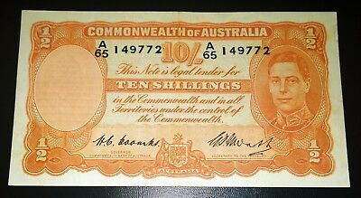 1949 Australia Coombs/Watt 10/- Ten Shillings banknote - very nice higher grade
