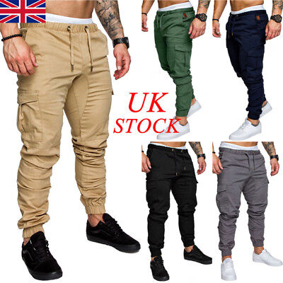 UK Mens Elasticated Waist Summer Trousers Cargo Combat Lightweight Work Pants