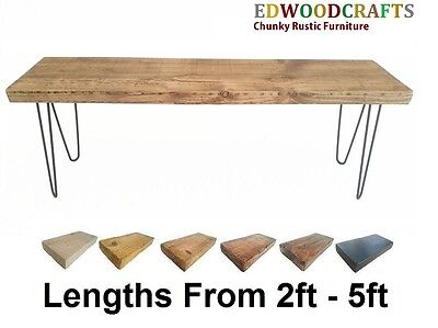 "Garden Bench Seat Chair 12"" Deep Hairpin Legs Solid Chunky Rustic Pine 2"" Top."