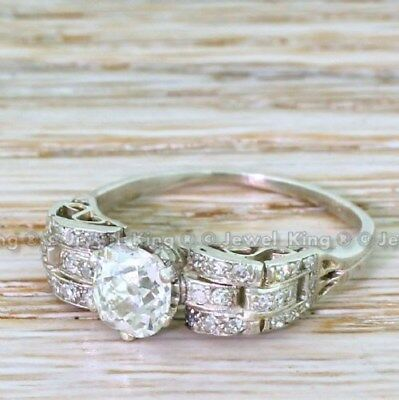 1.09 Ct Old Cut Vintage Art Deco Antique Engagement Bride Wedding Ring 1920's