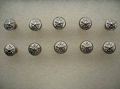 07's China PLA Reserve Army,Navy,Air Force General Metal Buttons,10 Pcs,15mm,B