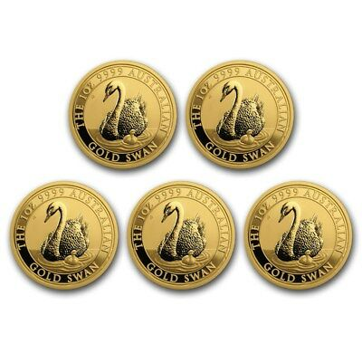 Bank Wire Payment. 2018 Australia 1 oz Gold Swan BU - Lot of 5