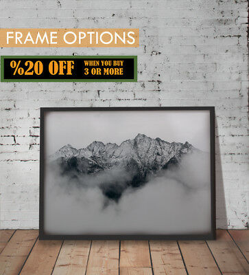 MOUNTAINS POSTER Landscape Picture Black And White Wall Art Print A3 / A4 +FRAME