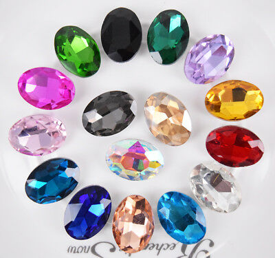Size top bottom Coloured glass Crytal Oval Rhinestone Jewels Faceted Beads