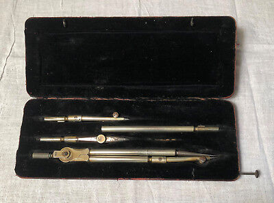 Antique C RIEFLER NESSELWANG & MUNCHEN Pocket Sized Drafting Drawing Set in Case