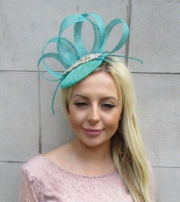 Jade Turquoise Green Gold Feather Pillbox Hat Fascinator Races Hair Ascot 5872