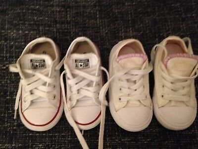 97d23d0ba2ff CONVERSE ALL STAR 2 pair girls all stars white trainers uk 6 leather    canvas