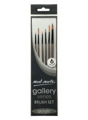 Mont Marte Set of 6 Gallery Series Paint Brushes Acrylic Detailed Liner Round