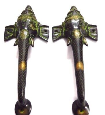 Lord Ganesh Shape Antique Vintage Style Handcrafted Brass Door Handle Knob Pull