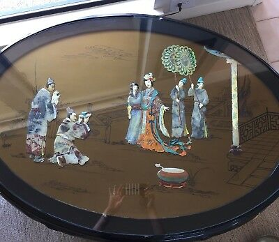 Chinese Coffee Table Inlaid Mother Of Pearl and/or Soapstone w/ 6 Stools