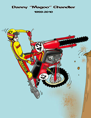 "Vintage Motocross Cartoon drawing of Danny ""Magoo"" Chandler-by Jim Jeffries"