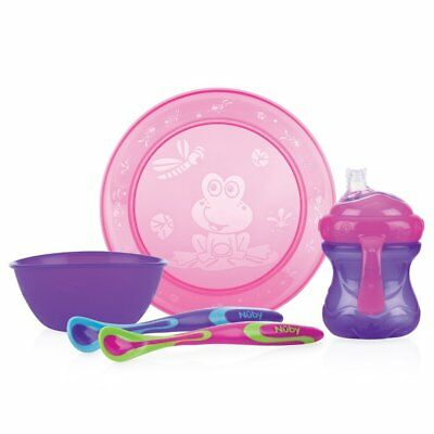 Nuby Tableware Set Meal Time Dinner Set Plate Bowl Cup 2 x Spoon in Pink/Purple