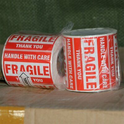 """2 Roll 2""""x3"""" Fragile Stickers HANDLE WITH CARE THANK YOU Shipping Warning Labels"""