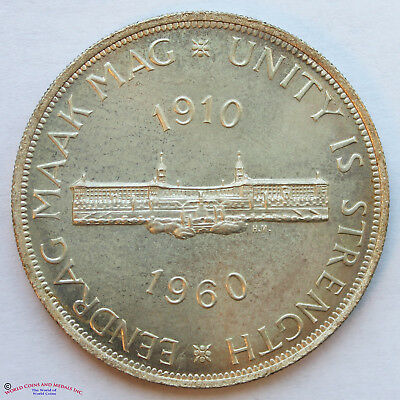 South Africa 1960 Silver 5 Shillings. 50 Years Of South Arican Union. Gem Unc.