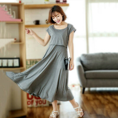 Big Swing Dress Nursing Breastfeeding Maternity Mid-calf Slim Cute M/L/XL/2XL