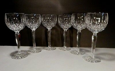 "*EXCELLENT* Waterford Crystal LISMORE (1957-) 6 Wine Hocks 7 3/8"" 6 oz Ireland"